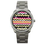 Colorful Chevron Pattern Stripes Sport Metal Watch Front