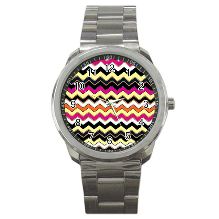 Colorful Chevron Pattern Stripes Sport Metal Watch