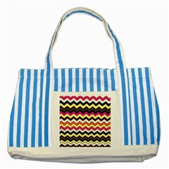 Colorful Chevron Pattern Stripes Striped Blue Tote Bag
