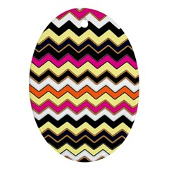 Colorful Chevron Pattern Stripes Oval Ornament (Two Sides)