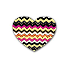Colorful Chevron Pattern Stripes Heart Coaster (4 Pack)