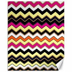 Colorful Chevron Pattern Stripes Canvas 11  x 14