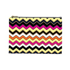 Colorful Chevron Pattern Stripes Cosmetic Bag (large)