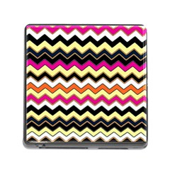 Colorful Chevron Pattern Stripes Memory Card Reader (square)
