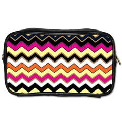 Colorful Chevron Pattern Stripes Toiletries Bags 2 Side