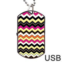 Colorful Chevron Pattern Stripes Dog Tag Usb Flash (two Sides)