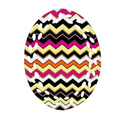 Colorful Chevron Pattern Stripes Oval Filigree Ornament (two Sides)