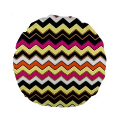 Colorful Chevron Pattern Stripes Standard 15  Premium Round Cushions