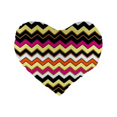Colorful Chevron Pattern Stripes Standard 16  Premium Heart Shape Cushions