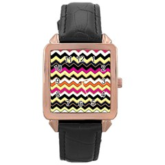 Colorful Chevron Pattern Stripes Rose Gold Leather Watch