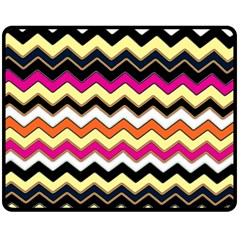 Colorful Chevron Pattern Stripes Double Sided Fleece Blanket (Medium)