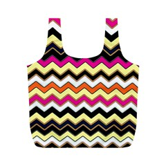 Colorful Chevron Pattern Stripes Full Print Recycle Bags (m)