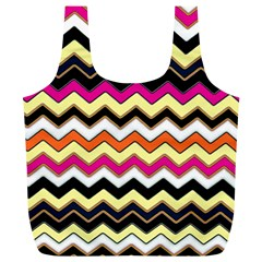 Colorful Chevron Pattern Stripes Full Print Recycle Bags (l)