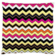 Colorful Chevron Pattern Stripes Large Flano Cushion Case (two Sides)