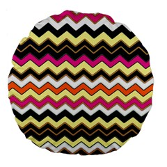 Colorful Chevron Pattern Stripes Large 18  Premium Flano Round Cushions