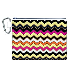 Colorful Chevron Pattern Stripes Canvas Cosmetic Bag (l)