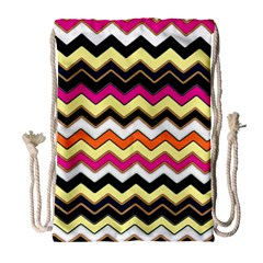 Colorful Chevron Pattern Stripes Drawstring Bag (large)