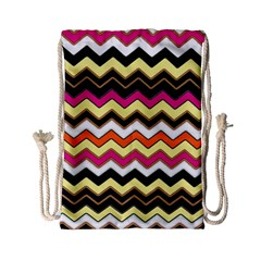 Colorful Chevron Pattern Stripes Drawstring Bag (small)