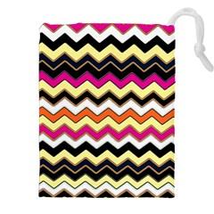 Colorful Chevron Pattern Stripes Drawstring Pouches (xxl)