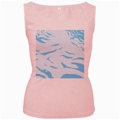 Blue Tiger Animal Pattern Digital Women s Pink Tank Top