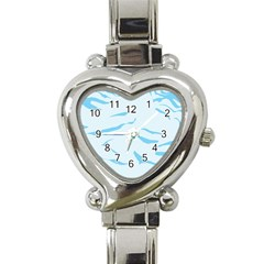 Blue Tiger Animal Pattern Digital Heart Italian Charm Watch