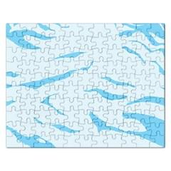 Blue Tiger Animal Pattern Digital Rectangular Jigsaw Puzzl