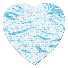 Blue Tiger Animal Pattern Digital Jigsaw Puzzle (heart)
