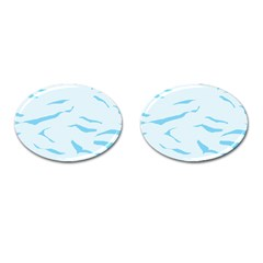 Blue Tiger Animal Pattern Digital Cufflinks (oval)