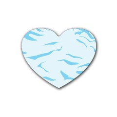 Blue Tiger Animal Pattern Digital Rubber Coaster (Heart)
