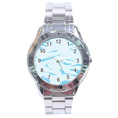 Blue Tiger Animal Pattern Digital Stainless Steel Analogue Watch