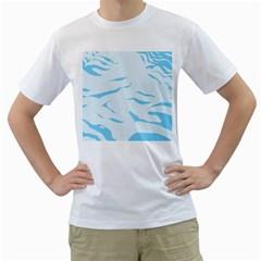 Blue Tiger Animal Pattern Digital Men s T Shirt (white)