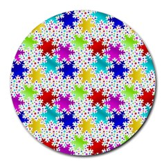 Snowflake Pattern Repeated Round Mousepads