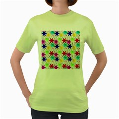Snowflake Pattern Repeated Women s Green T Shirt