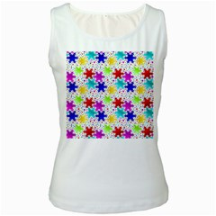 Snowflake Pattern Repeated Women s White Tank Top