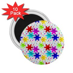 Snowflake Pattern Repeated 2 25  Magnets (10 Pack)