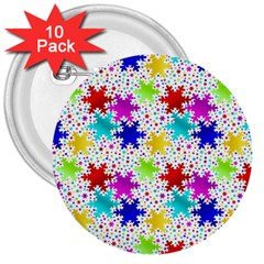 Snowflake Pattern Repeated 3  Buttons (10 Pack)