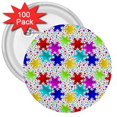 Snowflake Pattern Repeated 3  Buttons (100 Pack)