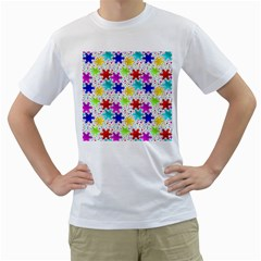 Snowflake Pattern Repeated Men s T Shirt (white) (two Sided)