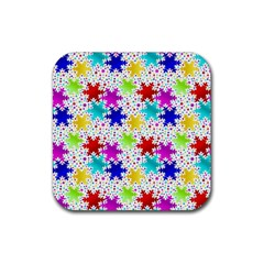 Snowflake Pattern Repeated Rubber Coaster (square)