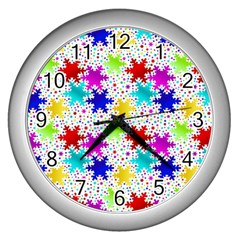 Snowflake Pattern Repeated Wall Clocks (silver)
