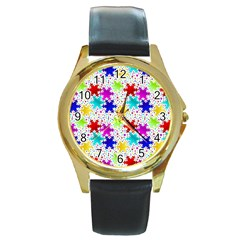 Snowflake Pattern Repeated Round Gold Metal Watch
