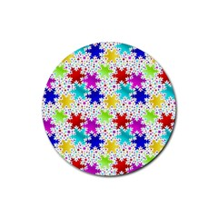 Snowflake Pattern Repeated Rubber Round Coaster (4 Pack)