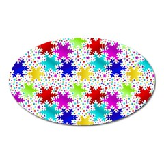 Snowflake Pattern Repeated Oval Magnet