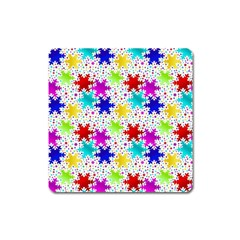 Snowflake Pattern Repeated Square Magnet