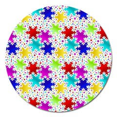 Snowflake Pattern Repeated Magnet 5  (round)