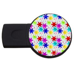 Snowflake Pattern Repeated Usb Flash Drive Round (2 Gb)