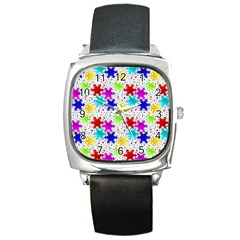 Snowflake Pattern Repeated Square Metal Watch