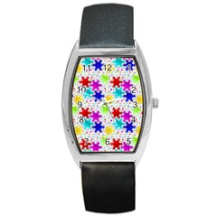 Snowflake Pattern Repeated Barrel Style Metal Watch