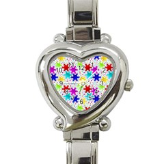 Snowflake Pattern Repeated Heart Italian Charm Watch