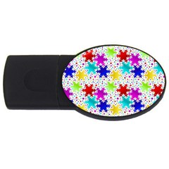Snowflake Pattern Repeated Usb Flash Drive Oval (4 Gb)